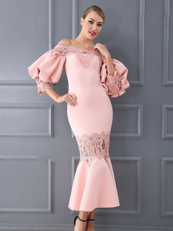Elegant One Shoulder Fishtail Evening Dress
