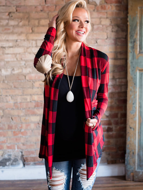 Plaid Print Sleeve Long Sleeve Jacket Cardigan
