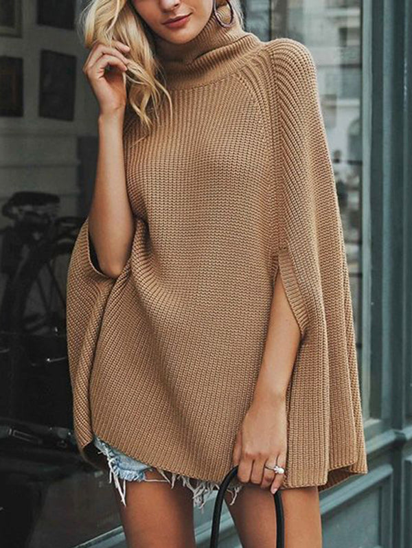 Hign-Neck Solid Color Cloak Comfortable Loose Fit Knit