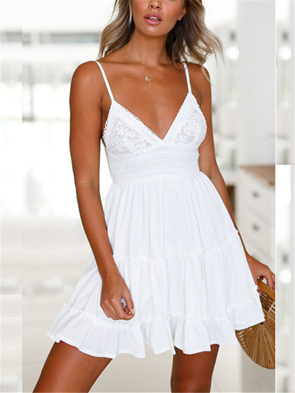 Deep V Strap Short Dress