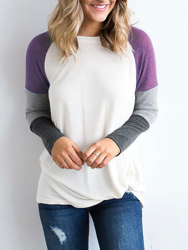 Round Neck Stitching Long Sleeve Contrast T-shirt