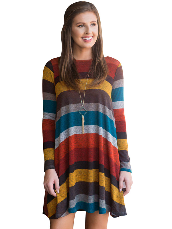Casual Wide Striped Long Sleeve Dress