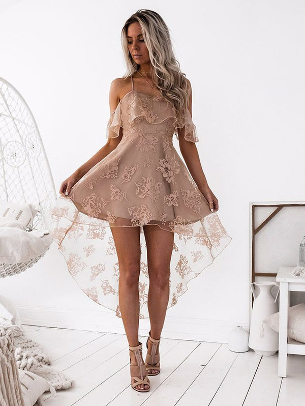 Sexy Lace Ruffle Halter Dress