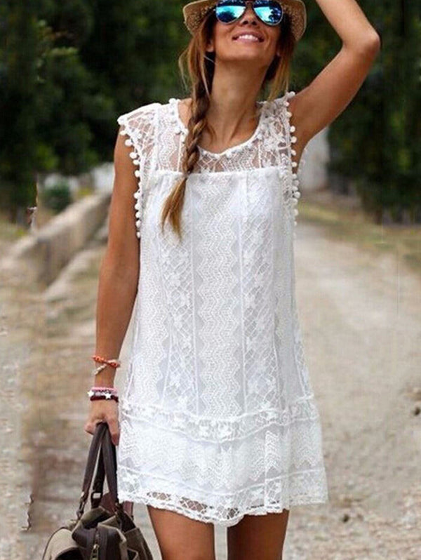 Elegant Lace Sleeveless Hollow Out Shift Casual Dress