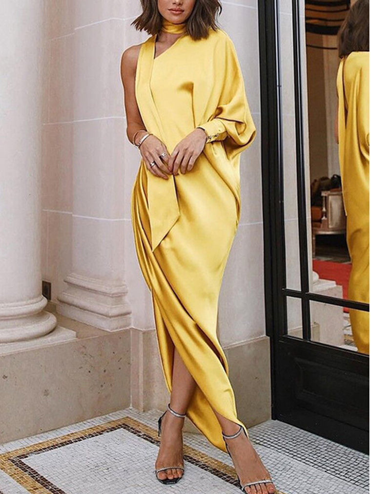 Elegant One Shoulder Pleated Side Slit Evening Dress