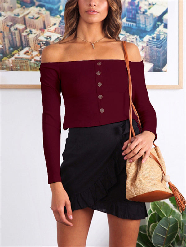 Solid Color Long Sleeve Off-the-shoulder Top