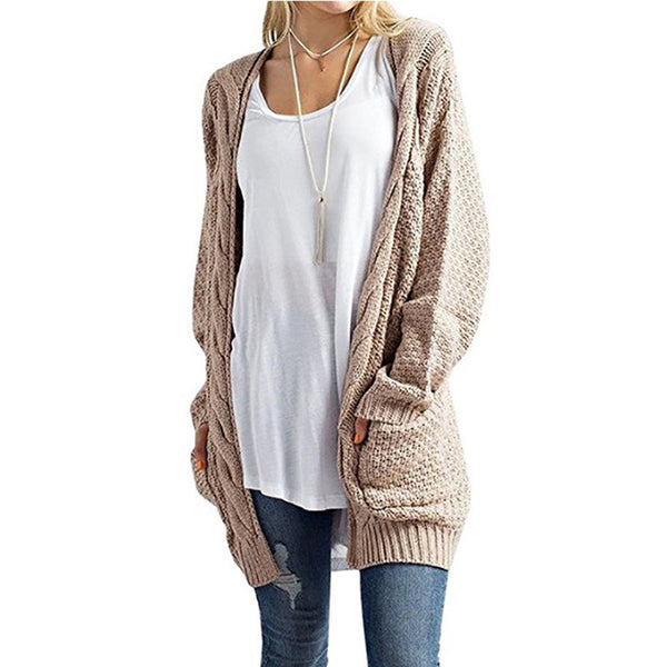 Solid Color Pocket Twist Knit Cardigan