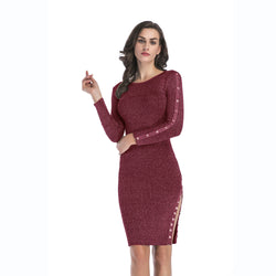 Button Design Slit Side Bodycon Dress