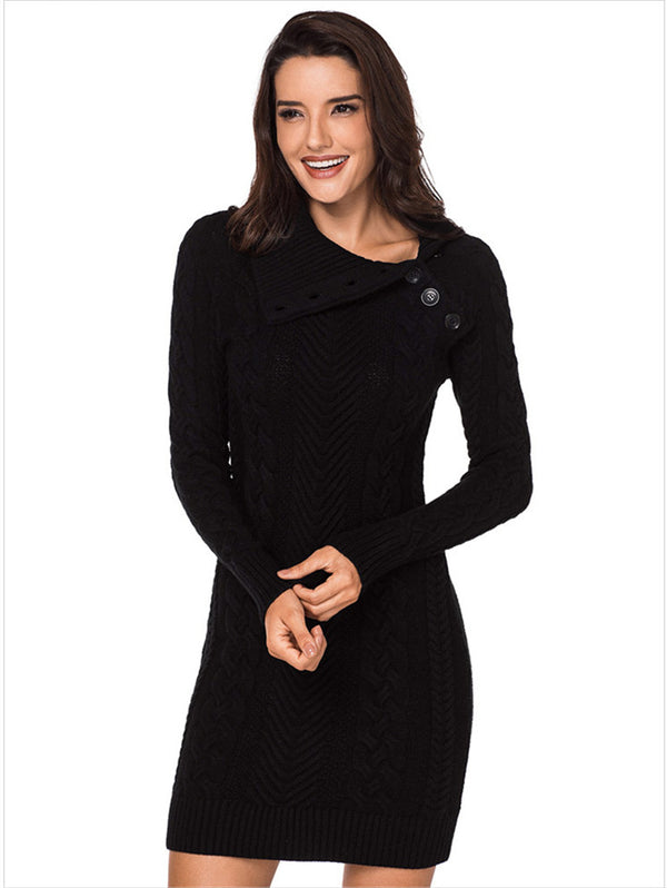 Solid Color Lapels Slim Knit Sweater Dress