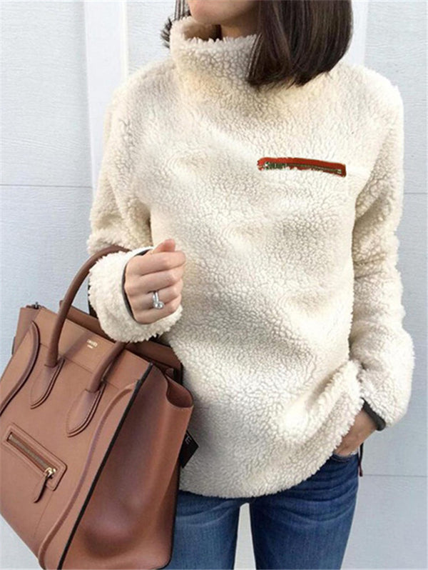 Fashion Zipper Turtleneck Sweater
