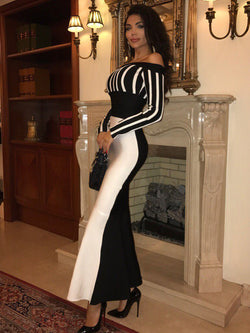 Elegant One Shoulder Stripe Bodycon Evening dress
