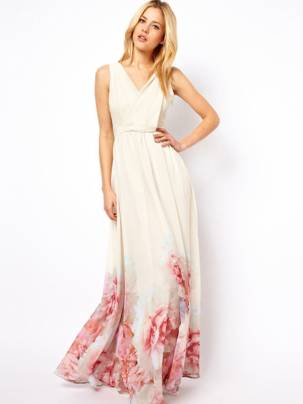 Sleeveless Deep V-neck Print Maxi Dress