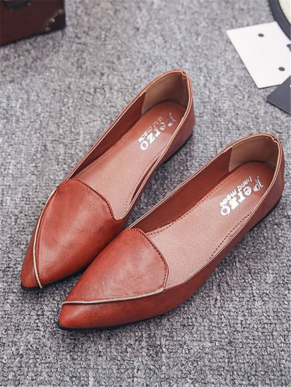 Pointed Solid Color Flat Shoes