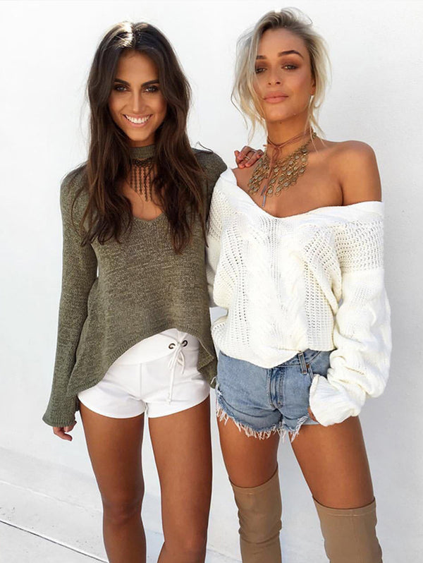 Plain V-Neck Long Sleeves Causal Loose Sweater