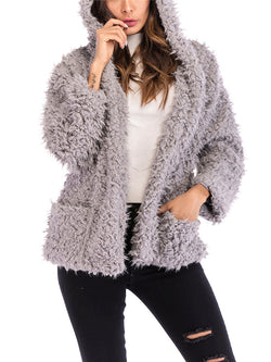 Hairy Hooded Long Sleeve Loose Padded Warm Coat
