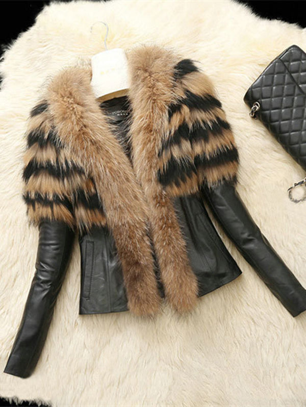 Sheepskin Simulation Leather Fur Coat