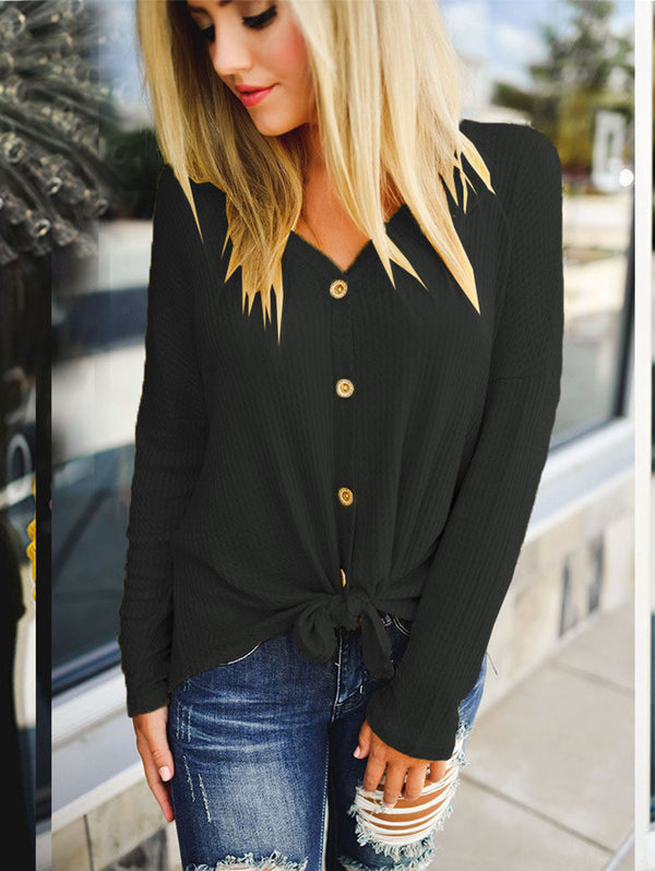 V-Neck Casual Long-Sleeved Sweater