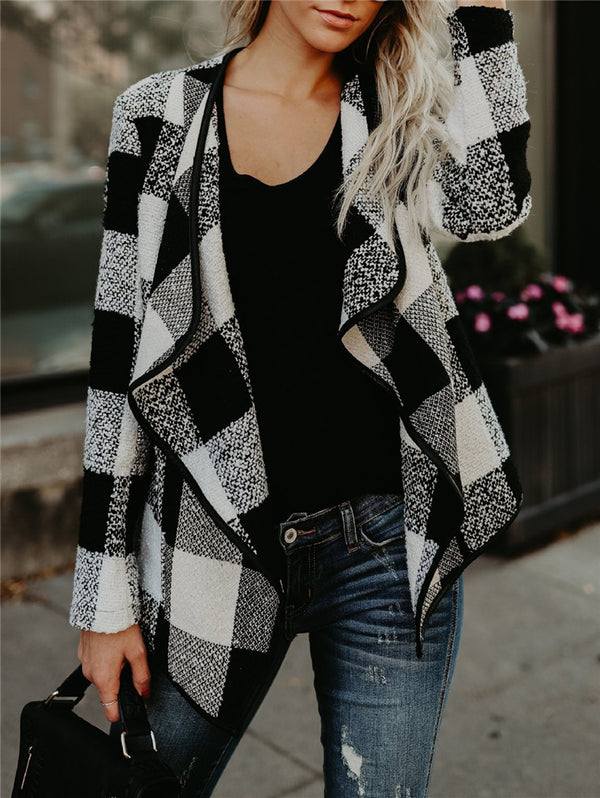 Lapel Plaid Long Sleeve Jacket