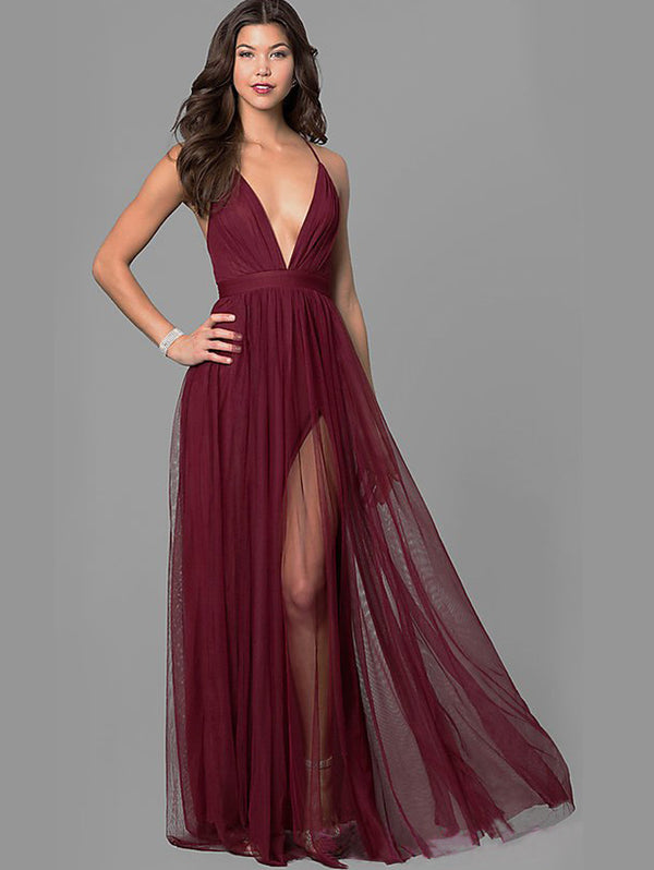 Chiffon V-Neckline Sleeveless Maxi Dress