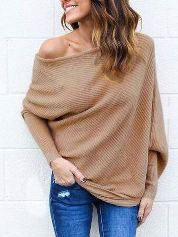 Sexy Strapless Bat Sleeve Sweater