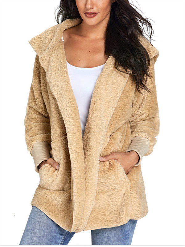 Hooded Long-sleeved Plush Cardigan Women's Jacket