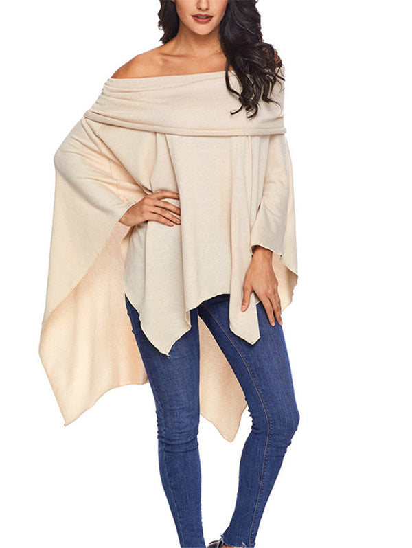 Solid Color Long Sleeve Shawl Shirt
