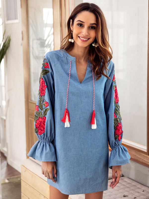 Denim Blue Drawstring V-neck Embroidered Lantern Long Sleeve Loose Dress
