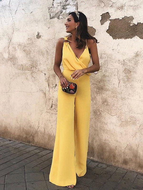 Asymmetrical fashion pop color jumpsuit