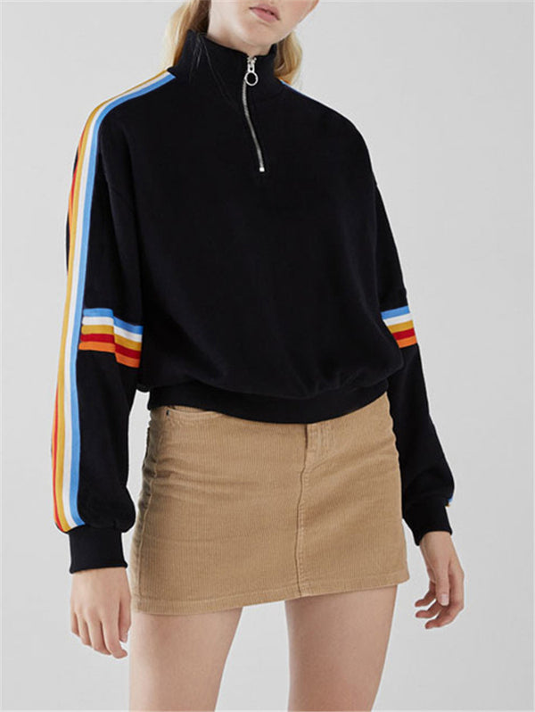 Zipper Long Sleeve Rainbow Loose High Collar Sweater