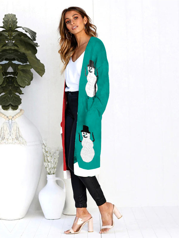 Cardigan Christmas Leopard Pocket Sweater