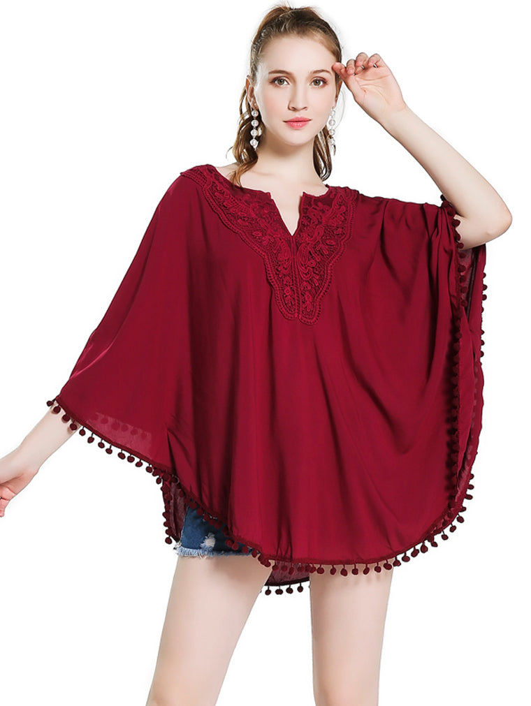V-neck Embroidered Loose Bat Shirt