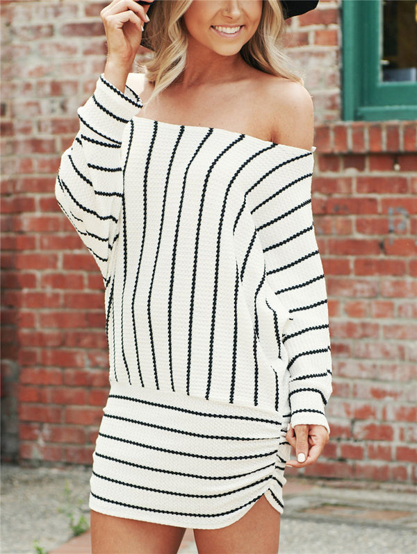 Striped Long Sleeve Large Size Dress