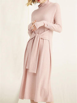 Solid Color Turtleneck Loose Knit Dress