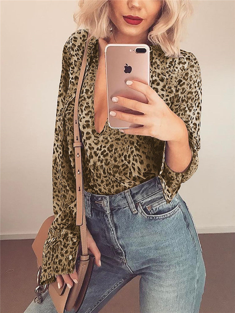Lace-Up Long Sleeve Leopard Casual Top