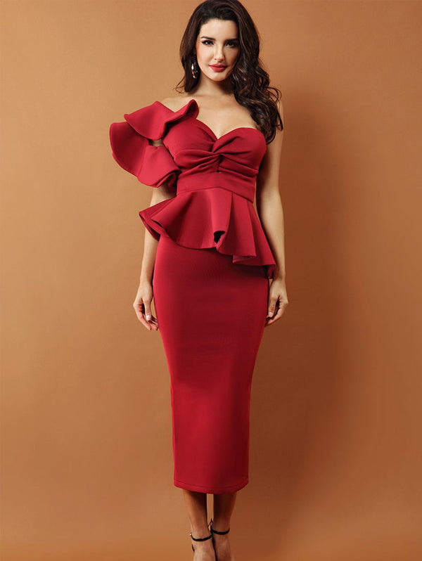 Ruffle Sleeve Slim Evening Dress