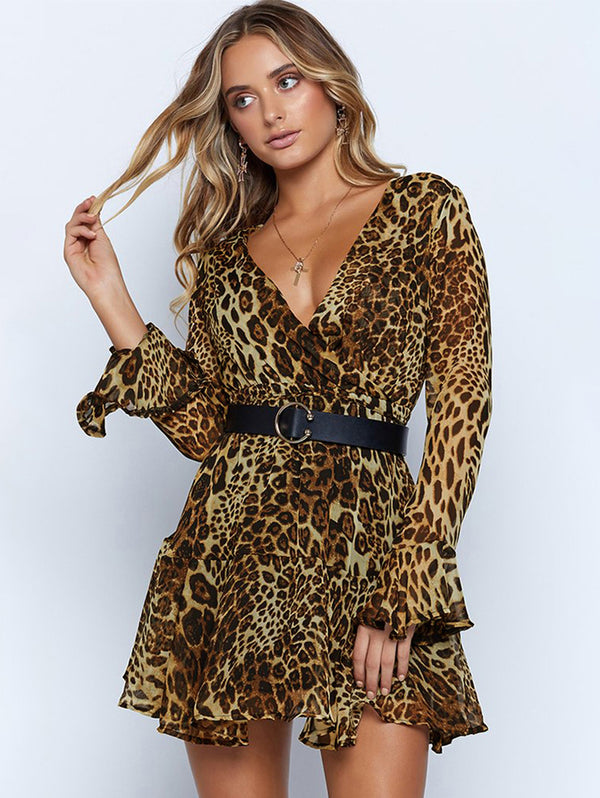 Day Dress Sexy V-neck Leopard Print Long Sleeve Chiffon