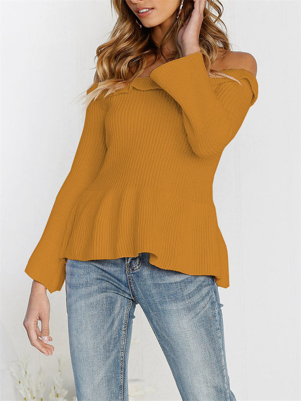 Off-the-shoulder Long Sleeve Knitwear