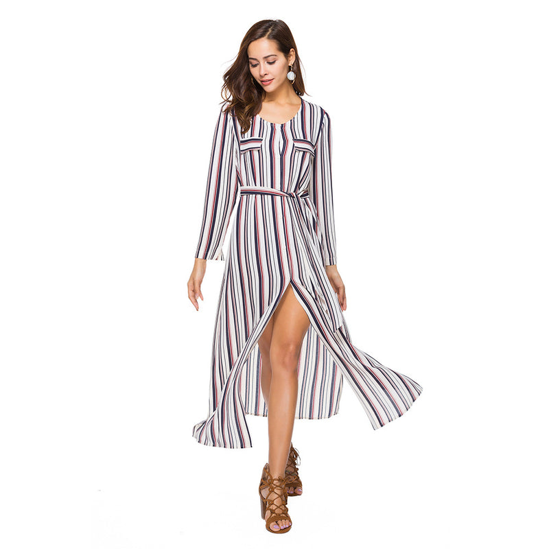 Long-Sleeve Stripes Slit Shirt Dress