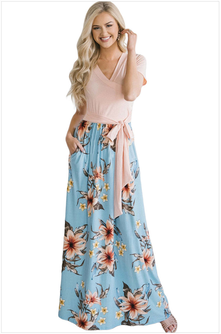 Floral Print V-Neckline High-Waisted Maxi Dress