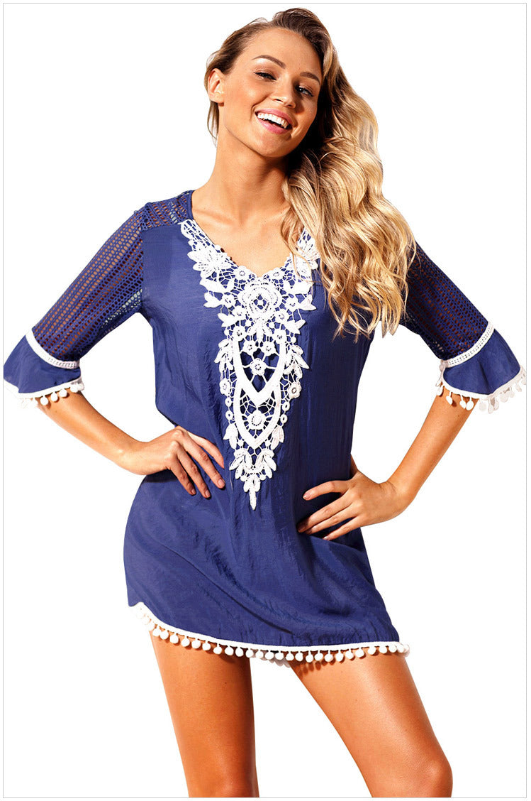 Lace V-Neckline Large Size Shift Dress