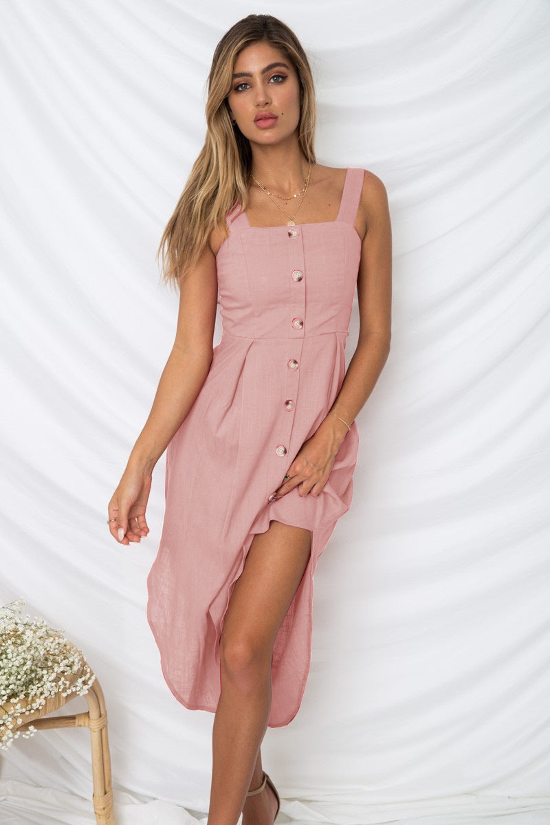 Off Shoulder Button Sling Dress