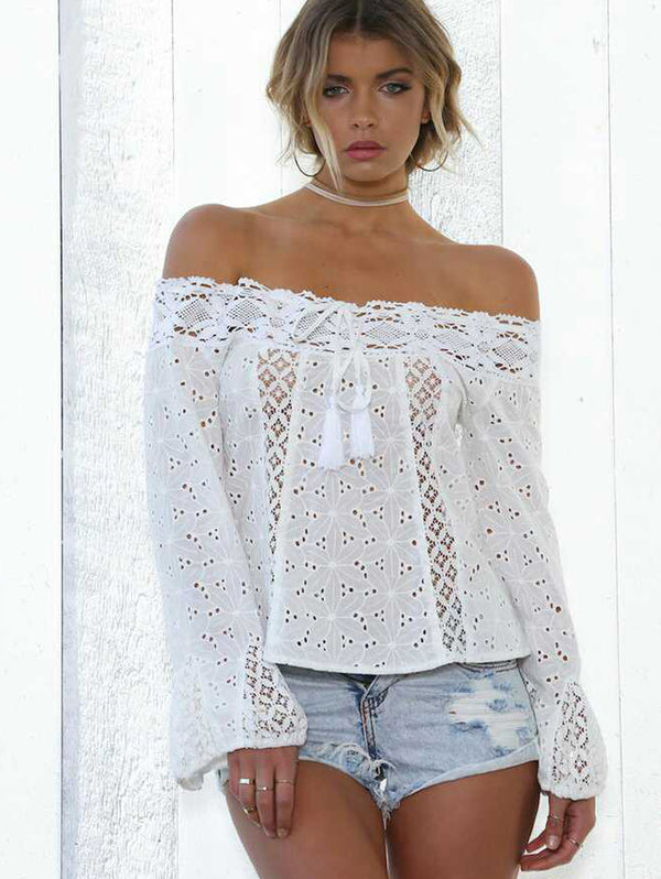 Strap-Horn Sleeve Hollow Out Lace Top