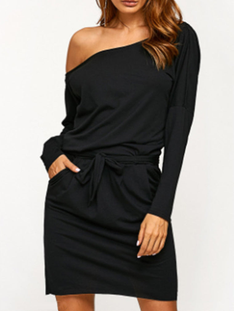 Long Sleeve Off Shoulder Belt Casual Dress
