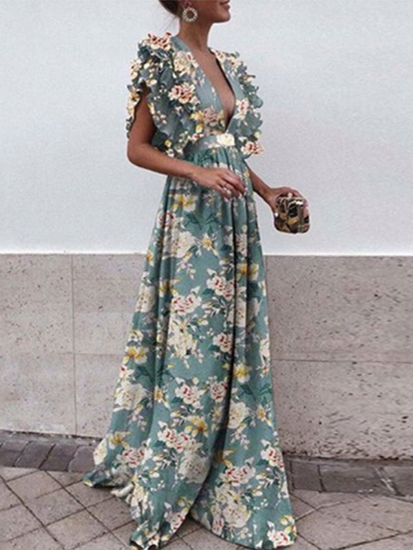 Ruffled Sleeve V-neck Halter Print Maxi Dress