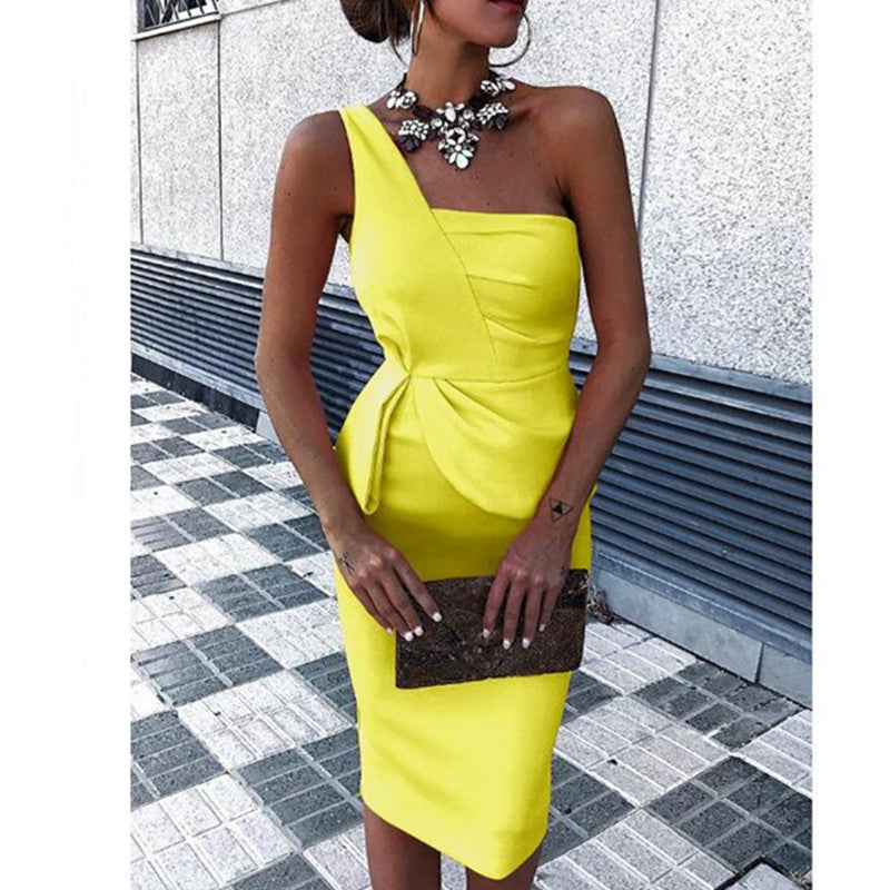 One Shoulder Commuter Bodycon Dress