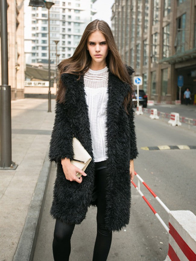 Elegant Lapel Furry Long Coat