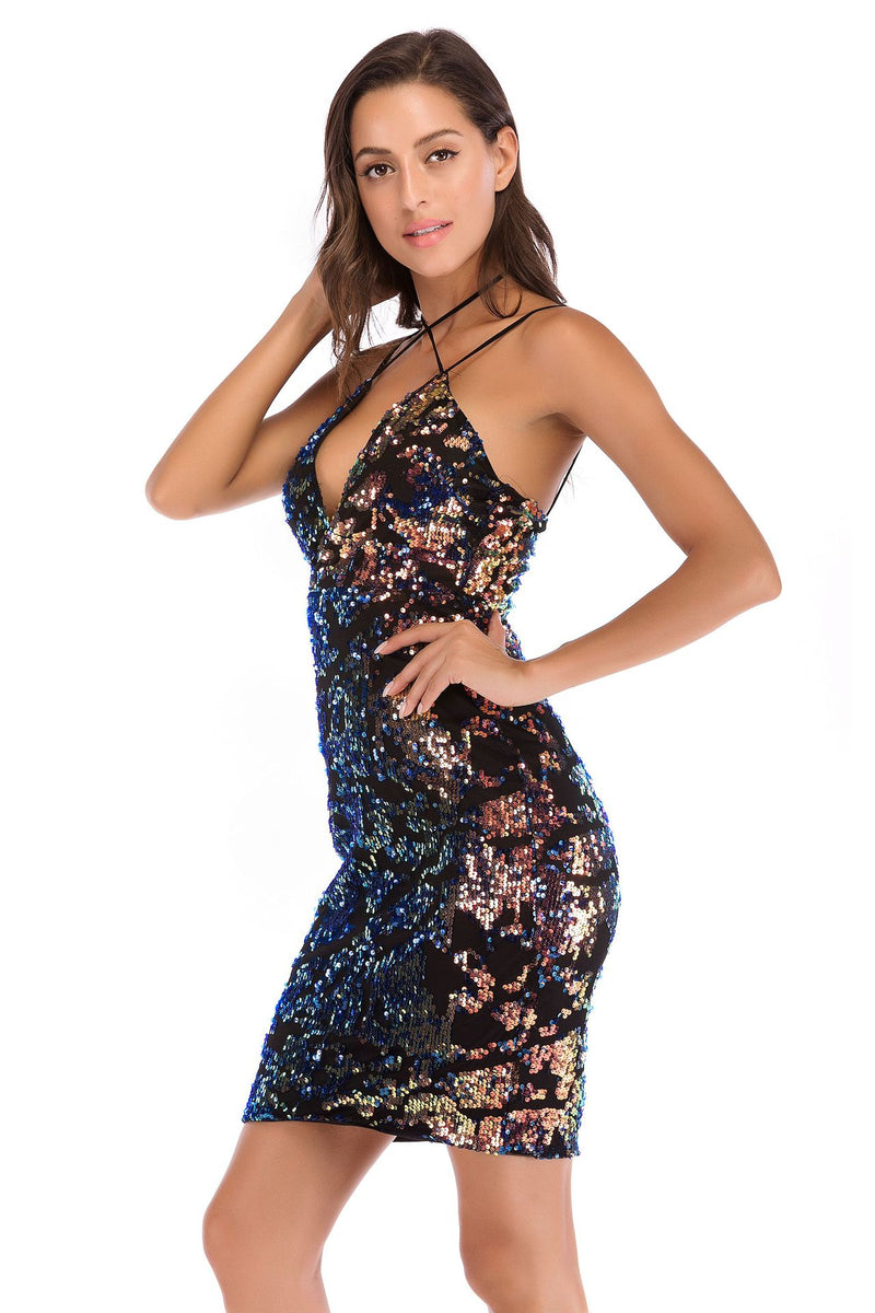 Halter Sexy Sequin Dress