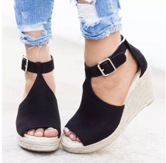 Summer Women Sandals Wedge Peep Toe Shoes High Heels
