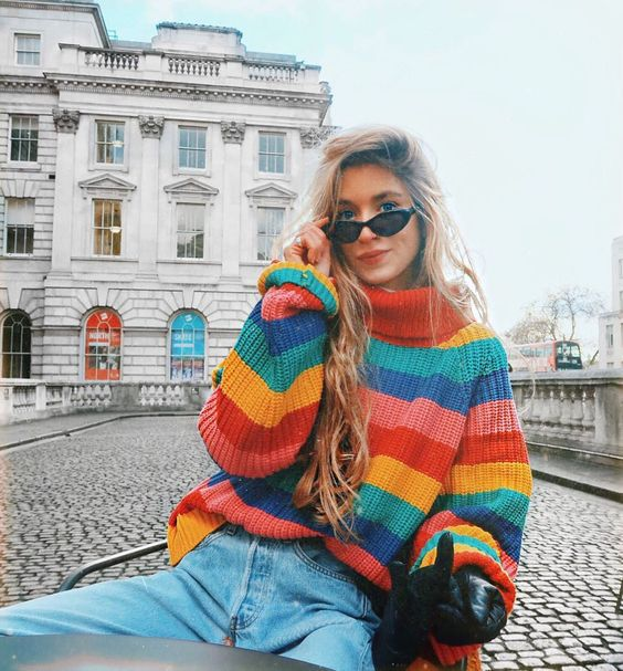 Rainbow Striped Comfortable Loose Fit