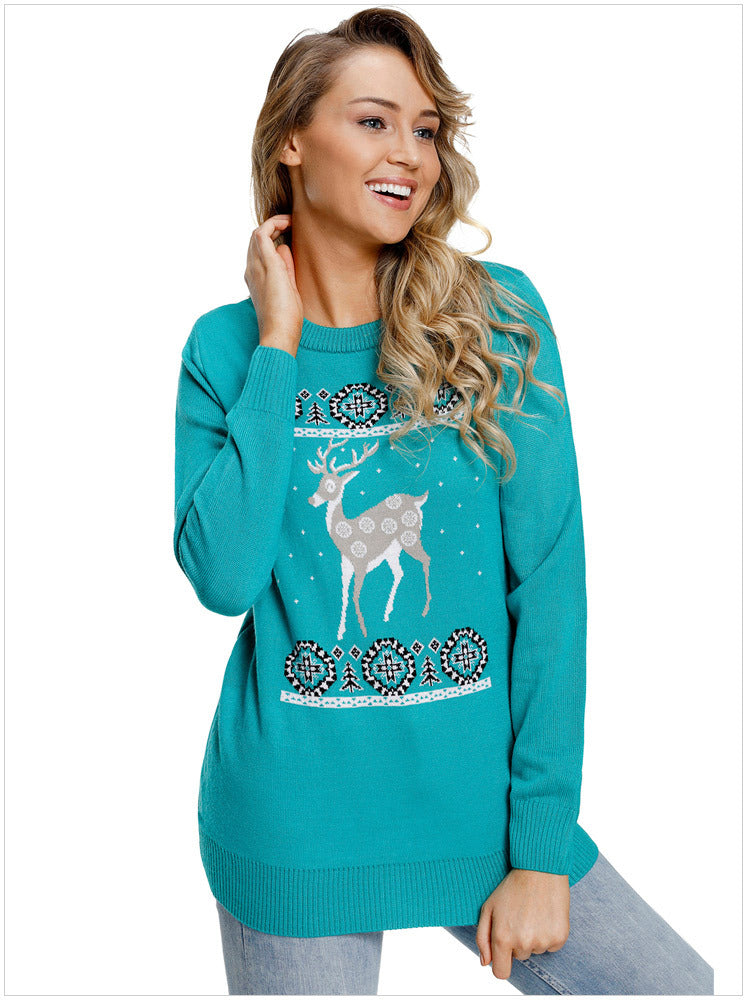 Christmas Fawn Print Long Sleeve Pullover